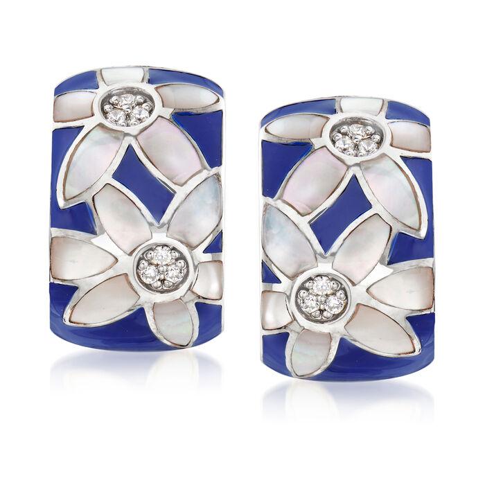 """Belle Etoile """"Moonflower"""" Blue Enamel and .10 ct. t.w. CZ Hoop Earrings in Sterling Silver. 5/8"""", , default"""
