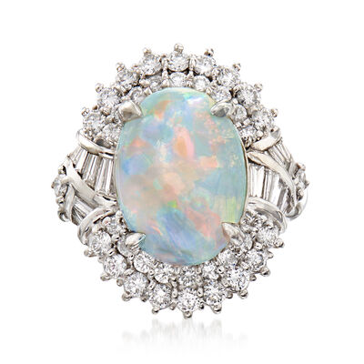 C. 1990 Vintage Opal and 1.23 ct. t.w. Diamond Ring in Platinum, , default