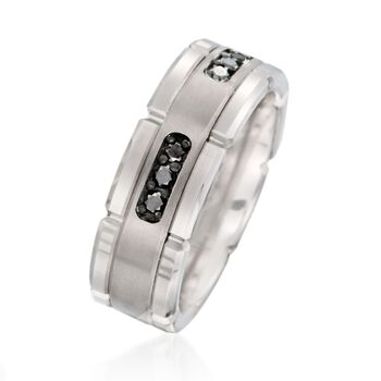 Men's .30 ct. t.w. Black Diamond Wedding Ring in Tungsten Carbide, , default