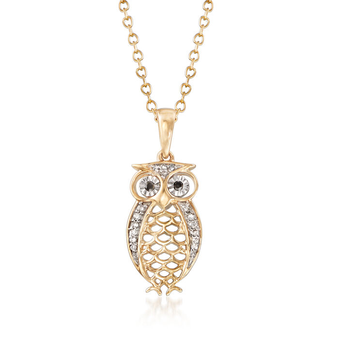 Owl Pendant Necklace with Diamond Accents in 14kt Yellow Gold