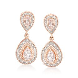 .80 ct. t.w. Morganite and .15 ct. t.w. Diamond Earrings in Two-Tone Sterling Silver, , default