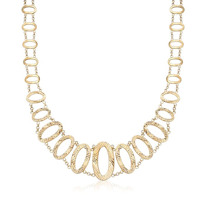 """14kt Yellow Gold Graduated Oval-Link Necklace. 20"""""""