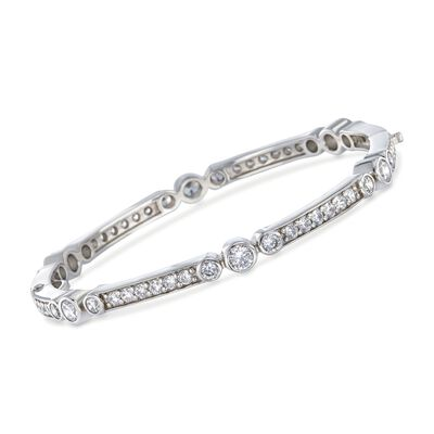 "Belle Etoile ""Coronet"" 4.50 ct. t.w. CZ Bangle Bracelet in Sterling Silver, , default"