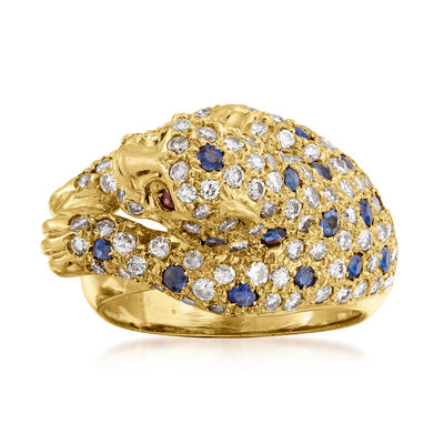 C. 1980 Vintage 1.30 ct. t.w. Diamond and .90 ct. t.w. Sapphire Panther Ring in 18kt Yellow Gold