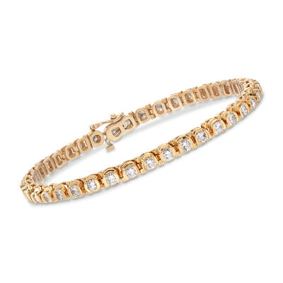 C. 1990 Vintage 4.24 ct. t.w. Diamond Tennis Bracelet in 14kt Yellow Gold, , default