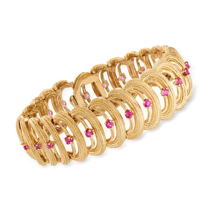C. 1970 Vintage 2.40 ct. t.w. Ruby Link Bracelet in 14kt Yellow Gold. Size 6.75, , default