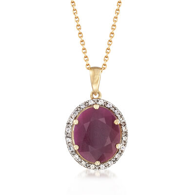 6.00 Carat Ruby and .20 ct. t.w. White Sapphire Pendant Necklace in 14kt Yellow Gold, , default
