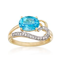 2.20 Carat Blue Topaz and .11 ct. t.w. Diamond Ring in 14kt Yellow Gold, , default