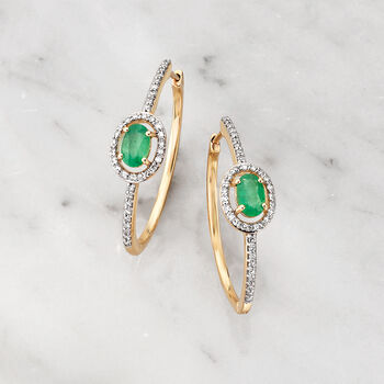 ".90 ct. t.w. Emerald and .34 ct. t.w. Diamond Hoop Earrings in 14kt Yellow Gold. 1"", , default"