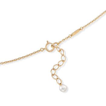 """Mikimoto 4.5mm A+ Akoya Pearl Station Necklace with .11 ct. t.w. Diamonds in 18kt Yellow Gold. 16.75"""""""