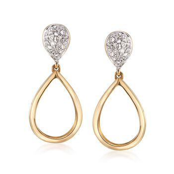 Diamond-Accented Teardrop Earrings in 14kt Two-Tone Gold , , default