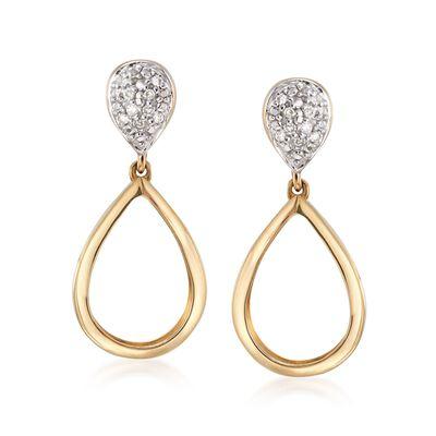 Diamond-Accented Teardrop Earrings in 14kt Two-Tone Gold, , default