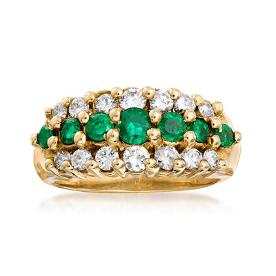 C. 1980 Vintage 1.00 ct. t.w. Emerald and 1.00 ct. t.w. Diamond Three-Row Ring in 14kt Yellow Gold