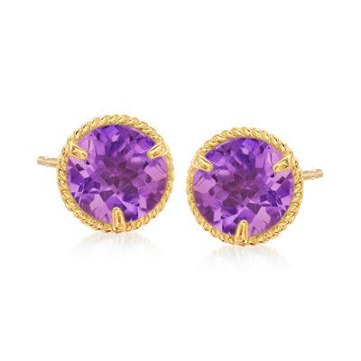 1.50 ct. t.w. Amethyst Roped Halo Stud Earrings in 14kt Yellow Gold