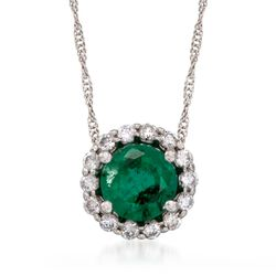 "1.20 Carat Emerald and .20 ct. t.w. Diamond Pendant Necklace in 14kt White Gold. 16"", , default"