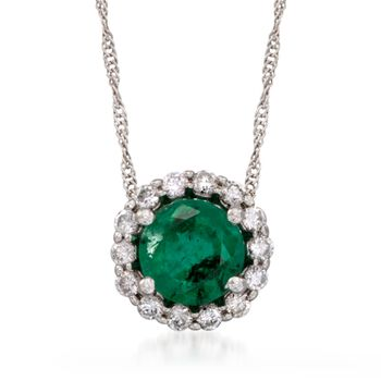 """1.20 Carat Emerald and .20 ct. t.w. Diamond Pendant Necklace in 14kt White Gold. 16"""", , default"""