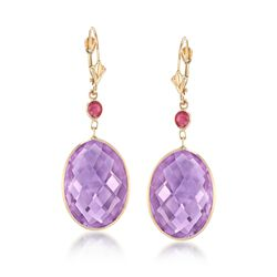 25.00 ct. t.w. Amethyst and .50 ct. t.w. Ruby Drop Earrings in 14kt Yellow Gold , , default