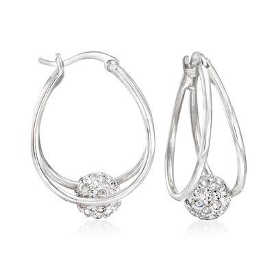 Crystal Bead Double-Hoop Earrings in Sterling Silver