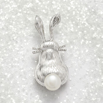 9.5-10mm Cultured Pearl and .10 ct. t.w. Diamond Bunny Pin in Sterling Silver