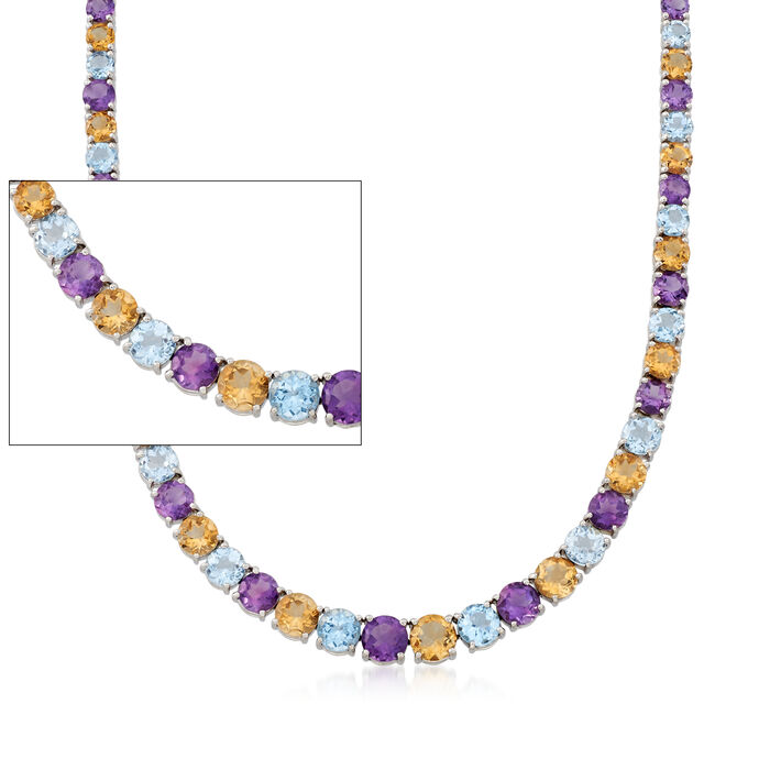 """41.00 ct. t.w. Multi-Stone Graduated Tennis Necklace in Sterling Silver. 18"""", , default"""