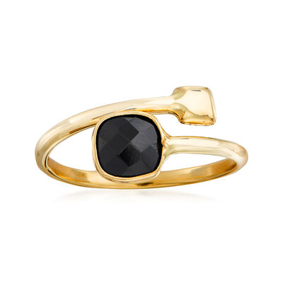 Italian Onyx Bypass Ring in 14kt Yellow Gold
