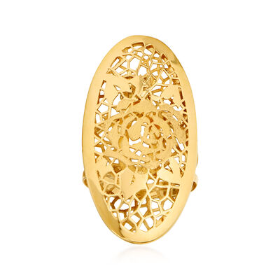 Italian 18kt Yellow Gold Oval Openwork Rose Ring, , default