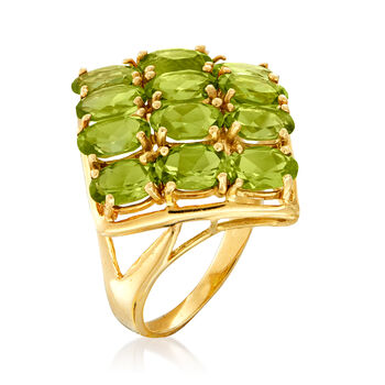 C. 1980 Vintage 4.80 ct. t.w. Three-Row Peridot Ring in 14kt Yellow Gold. Size 5.5, , default