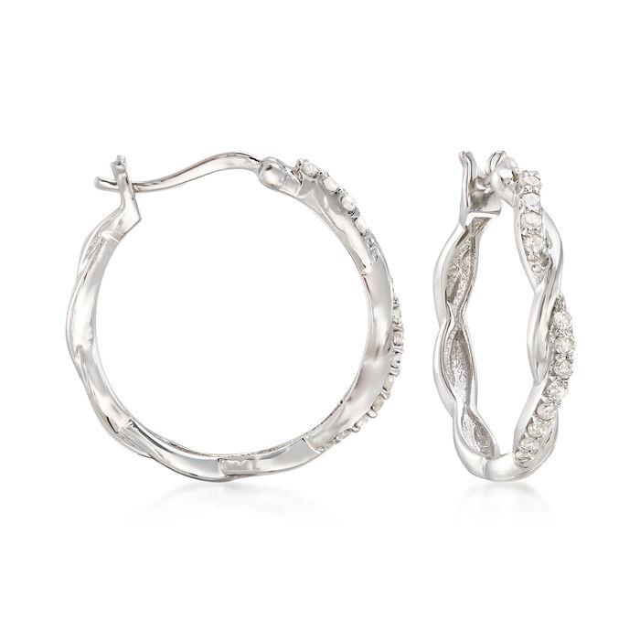 """.25 ct. t.w. Diamond Twisted Hoop Earrings in Sterling Silver. 3/4"""""""