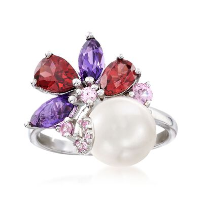 9-9.5mm Cultured Pearl and 2.20 ct. t.w. Multi-Stone Cluster Ring in Sterling Silver, , default
