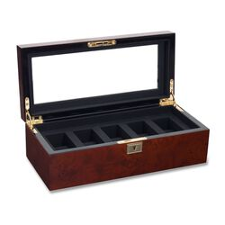 "Wolf Designs ""Savoy"" Burlwood Five-Part Watch Box, , default"