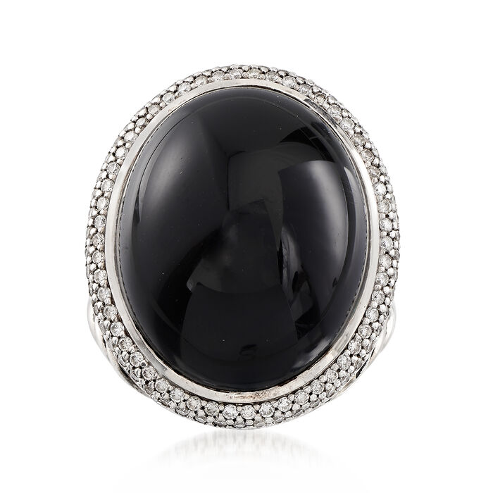 C. 2000 Vintage David Yurman Black Onyx and 1.10 ct. t.w. Diamond Ring in Sterling Silver. Size 7, , default