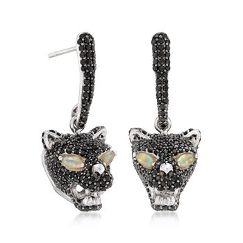 Ethiopian Opal and 3.10 ct. t.w. Black Spinel Panther Drop Earrings in Sterling Silver, , default