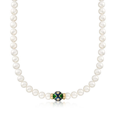 C. 1990 Vintage 8-9mm Cultured Pearl Necklace in 14kt Yellow Gold with Diamond Accents, , default