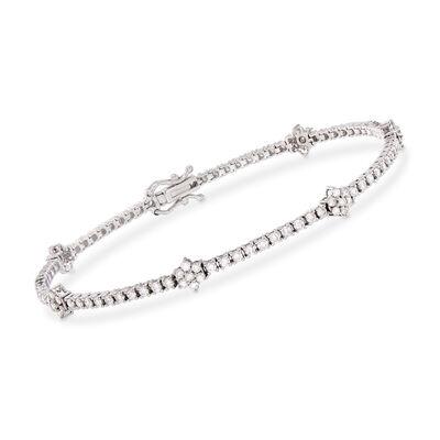 2.50 ct. t.w. Diamond Flower Station Bracelet in 14kt White Gold, , default