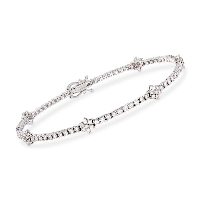2.50 ct. t.w. Diamond Flower Station Bracelet in 14kt White Gold
