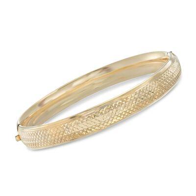14kt Gold Over Sterling Silver Argyle Pattern Bangle Bracelet, , default