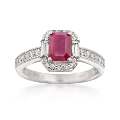 1.10 Carat Ruby and .46 ct. t.w. Diamond Ring in 14kt White Gold, , default