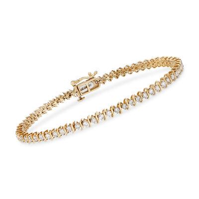 2.00 ct. t.w. Diamond S-Link Tennis Bracelet in 14kt Yellow Gold, , default