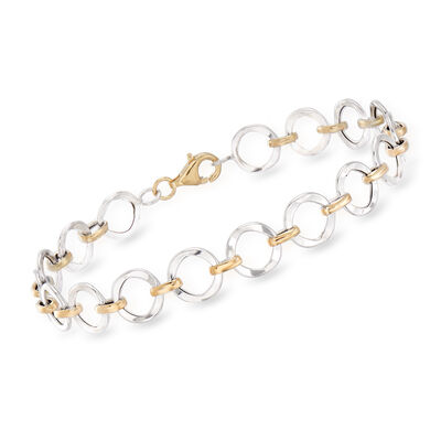 14kt Two-Tone Gold Circle Link Bracelet, , default