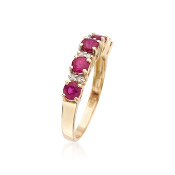.50 ct. t.w. Ruby Ring With Diamond Accents in 14kt Yellow Gold, , default