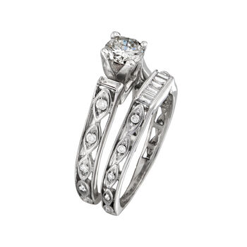 C. 2000. Vintage 1.34 ct. t.w. Diamond Bridal Set: Engagement and Wedding Rings in 18kt White Gold. Size 8