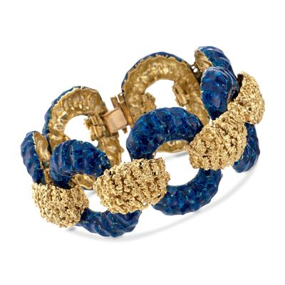 C. 1990 Vintage Blue Enamel and 18kt Yellow Gold Textured Open Link Bracelet, , default