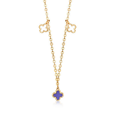 Italian Lapis Clover Station Necklace in 14kt Yellow Gold, , default