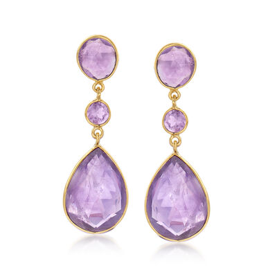 24.50 ct. t.w. Amethyst Drop Earrings in 18kt Gold Over Sterling , , default