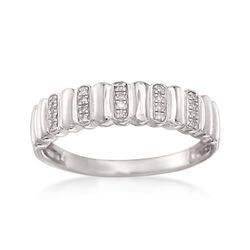Sterling Silver Ribbed Ring With Diamond Accents, , default