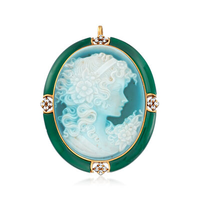 C. 1970 Vintage Blue Agate, Green Chalcedony and .19 ct. t.w. Diamond Cameo Pin/Pendant in 18kt Yellow Gold