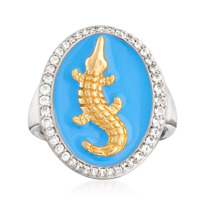 .40 ct. t.w. White Topaz and Blue Enamel Alligator Ring in Two-Tone Sterling Silver