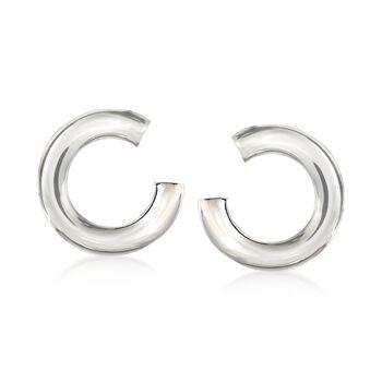 Italian Sterling Silver C-Shaped Drop Earrings, , default