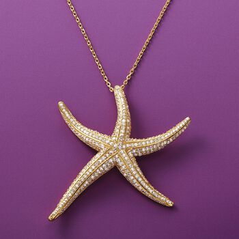 1.50 ct. t.w. Pave CZ Starfish Pendant Necklace in 14kt Gold Over Sterling. 18""