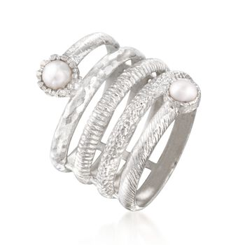 4mm Cultured Pearl Spiral Ring in Sterling Silver, , default